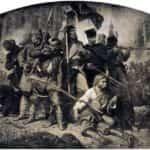 """Rysunek Artura Grottgera """"Bitwa"""" z cyklu """"Polonia"""" poświęconemu Powstaniu Styczniowemu."""