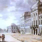 Akwarela autorstwa Zygmunta Vogla z 1785 r. przedstawiająca budynek szkoły rycerskiej