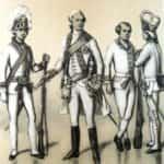 Rysunek B. Gembarzewski. Stoją na nim od lewej: kadet i wicekomendant korpusu w paradzie, kadeci grodzieńscy Wielkiego Księstwa Litewskiego.