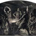 """Rysunek Artura Grottgera """"Kucie kos"""" z cyklu """"Polonia"""" poświęconemu Powstaniu Styczniowemu."""