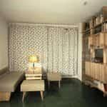 Zdjęcie wnętrza mieszkania na Osiedlu Dolna – Sobieskiego (1968 r). Fot. ze zbiorów Narodowego Archiwum Cyfrowego.