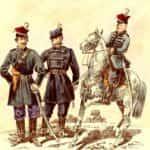 Ilustracja autorstwa Kajetana Saryusza Wolskiego pokazująca oddział Czachowskiego. Od lewej: Czachowski (syn), major Englert Władysław, porucznik Wolski Walery