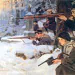 Obraz autorstwa Wojciecha Kossaka pod tytułem Orlęta - obrona cmentarza.