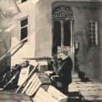 """Rysunek Kamila Mackiewicza przedstawiający strzelającego chłopca pod tytułem """"W bramie zachybotała się postać strzelającego chłopca""""."""