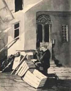 Rysunek Kamila Mackiewicza przedstawiający strzelającego chłopca.