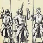 Obraz autorstwa B. Gembarzewskiego przedstawiający polską piechotę wg. ryciny Adolfa Leutensacka podczas bitwy pod Byczyną w 1587 r.