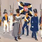 Ilustracja autorstwa K. Lindera przedstawiająca piechotę liniową Królestwa Polskiego (po 1826 roku) i Powstania Listopadowego.