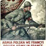 Plakat autorstwa Władysława Bendy. Zachęcający do rekrutowania do Armii Polskiej we Francji