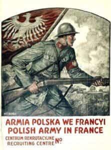Plakat Władysława Bendy. Zachęcający do rekrutowania do Armii Polskiej we Francji