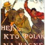 Plakat z okresu wojny polsko-bolszewickiej z fragmentem tekstu pieśni Warszawianka