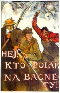 Plakat z okresu wojny polsko-bolszewickiej z fragmentem pieśni Warszawianka