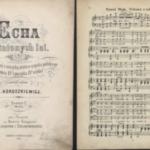 """Skan prezentujący jedno z najstarszych wydań partytury utworu """"Polonez trzeciego maja"""", pochodzące z opracowania Echa minionych lat J. Horoszkiewicza, Lipsk 1889 r."""