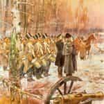 Obraz autorstwa Wojciecha Kossaka przedstawiający przegląd 4 Pułku Piechoty Liniowej na pozycji w Olszynce Grochowskiej.