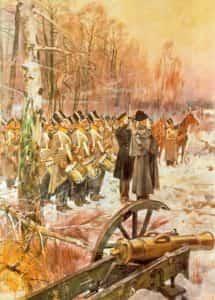 Obraz W. Kossaka. Przegląd 4 Pułku Piechoty Liniowej w Olszynce Grochowskiej.