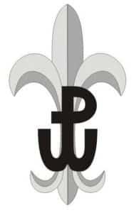 Grafika przedstawiająca lilijkę Szarych Szeregów z symbolem Polski Walczącej.