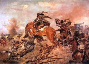 Obraz autorstwa W. Kossaka z 1934 roku pod tytułem Szarża pod Rokitną.