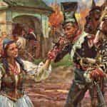 Obraz autorstwa Wojciecha Kossaka z 1909 roku pod tytułem Trębacz i kowalowa.