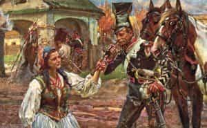Obraz autorstwa Wojciecha Kossaka z 1909 roku Trębacz i kowalowa.