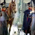 Obraz J. Chełmiński pod tytułem Księstwo Warszawskie: ułan i oficer 8 Pułku.