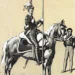 Ilustracja B. Gembarzewski. Ułan (lansjer) i oficer Pułku Ułanów Legii Nadwiślańskiej (1807 r.)