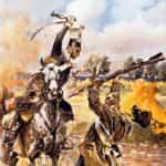 Obraz Wojciecha Kossaka z 1900 roku przedstawiający ułana w walce z Kozakiem- epizod z Powstania Listopadowego.