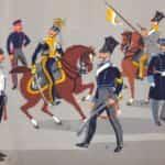 Grafika K. Linder. Ułani Królestwa Polskiego. 1. ułan 2 Pułku do 1824 r., 2. ułan 1 Pułku w mundurze koszarowym (do 1826 r.), 3. wyższy oficer 3 Pułku 1826-30 r., 4. podoficer 4 Pułku w mundurze polowym 1826-30 r, 5. ułan 3 Pułku w mundurze zimowym i w płaszczu (do 1826 r.), 6. młodszy oficer 4 Pułku w surducie (do 1829 r.).