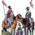 Grafika prezentująca oficera i ułana rosyjskiego Pułku Ułanów Cesarzewicza 1805 r.