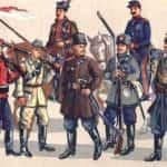 Rysunek Walerego Eljasza-Radzikowskiego przedstawiający umundurowanie powstańczej piechoty.