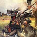 Obraz autorstwa Wojciecha Kossaka z 1912 roku pod tytułem Walka ułana z piechurem.