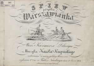 """Zdjęcie okładki pierwszego wydania partytury """"Warszawianki""""."""