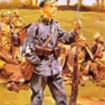 Obraz autorstwa Wojciecha Kossaka z 1915 roku pod tytułem wnuk tych spod Grochowa i Stoczka.