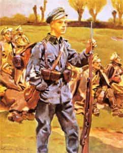 Obraz Wojciecha Kossaka z 1915 r. pod tytułem wnuk tych spod Grochowa i Stoczka.