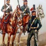 Obraz B. Gembarzewski. Straż przednia wojska koronnego (1792 r.). Od lewej: pocztowy, towarzysz, oficer.