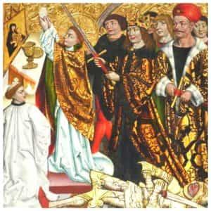 Obraz prezentujący moment zabójstwa Biskupa Stanisława ze Szczepanowa.