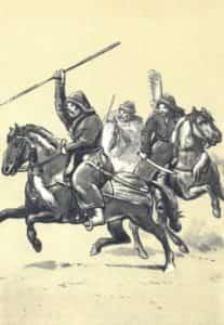 Ilustracja B. Gembarzewski. Żołnierz chorągwi tatarskiej (poł. XVII wieku).