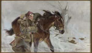 Obraz autorstwa Wojciecha Kossaka zatytułowany żołnierz z koniem.
