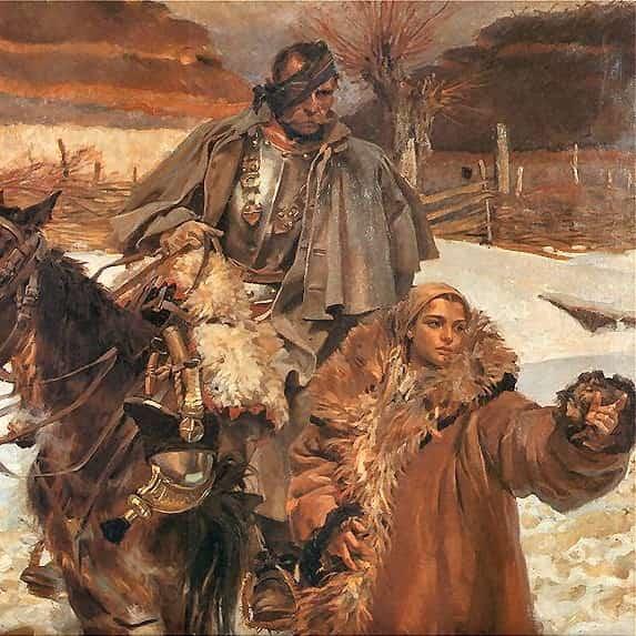 ilustracja do utworu Białe róże. Obraz Ranny kirasjer i dziewczyna W. Kossak