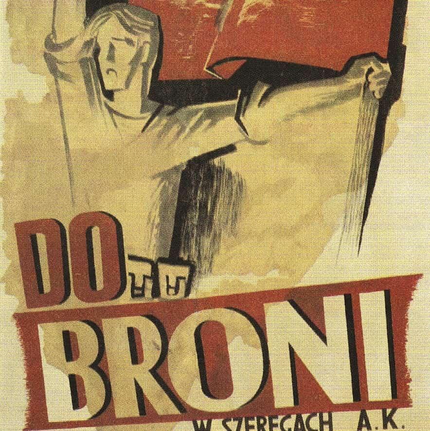 ilustracja utworu Deszcz jesienny deszcz plakat Do broni w szeregach AK. Jurgielewicz i Burke.