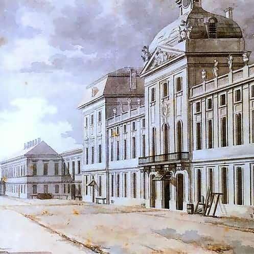 ilustracja do utworu Hymn do miłości ojczyzny obraz Szkoła Rycerska. Z Vogl 1785 r.