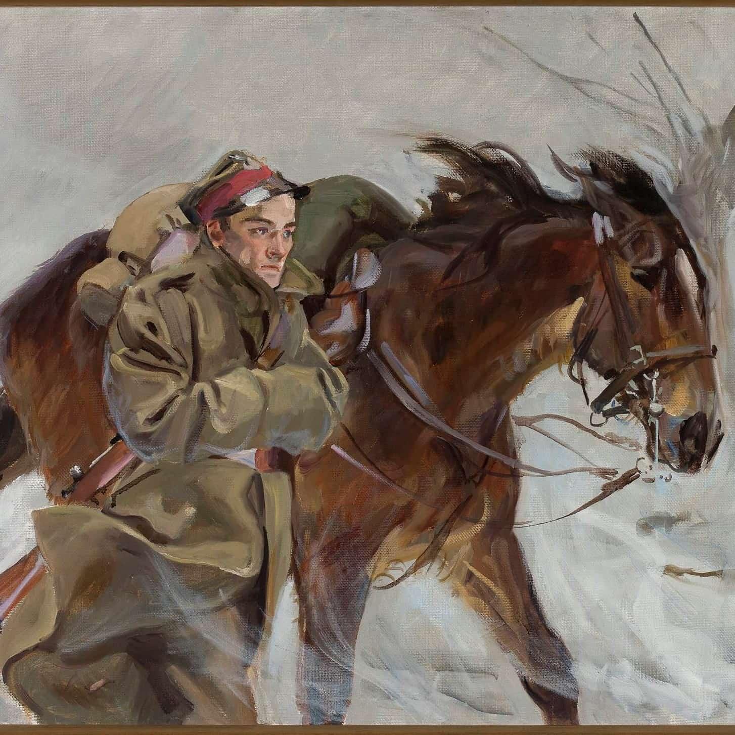 ilustracja do utworu Idzie żołnierz borem lasem obraz Żołnierz z koniem autorstwa Wojciecha Kossaka