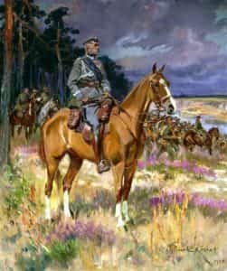 Obraz Wojciecha Kossaka (1928). Józef Piłsudski na Kasztance.