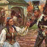 ilustracja do utworu O mój rozmarynie obraz Trębacz i kowalowa autorstwa W. Kossak