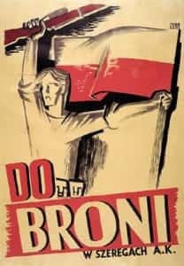 Plakat do broni w szeregach AK z 1944 r. Autorzy M. Jurgielewicz, E. Burke.