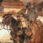 Obraz autorstwa Wojciecha Kossaka. Ranny kirasjer i dziewczyna. 1908 rok