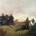 Obraz A.A. Piotrowski. Śmierć Dionizego Czachowskiego w bitwie pod Wierzchowiskami w 1863.