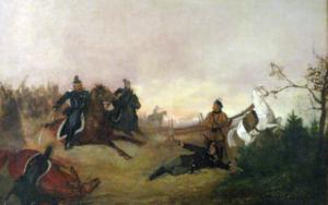 Obraz A. Piotrowski. Śmierć Dionizego Czachowskiego w bitwie pod Wierzchowiskami w 1863.