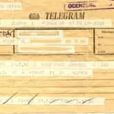Ocenzurowany telegram z okresu stanu wojennego.