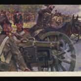 Powstanie Listopadowe – artyleria w ogniu. Pocztówka z początku XX w. wg. obrazu W. Kossaka. Źródło: Polona