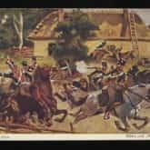 Powstanie Listopadowe – bitwa pod Młynarzami. Pocztówka z 1890 roku wg obrazu W. Kossaka. Źródło: Polona
