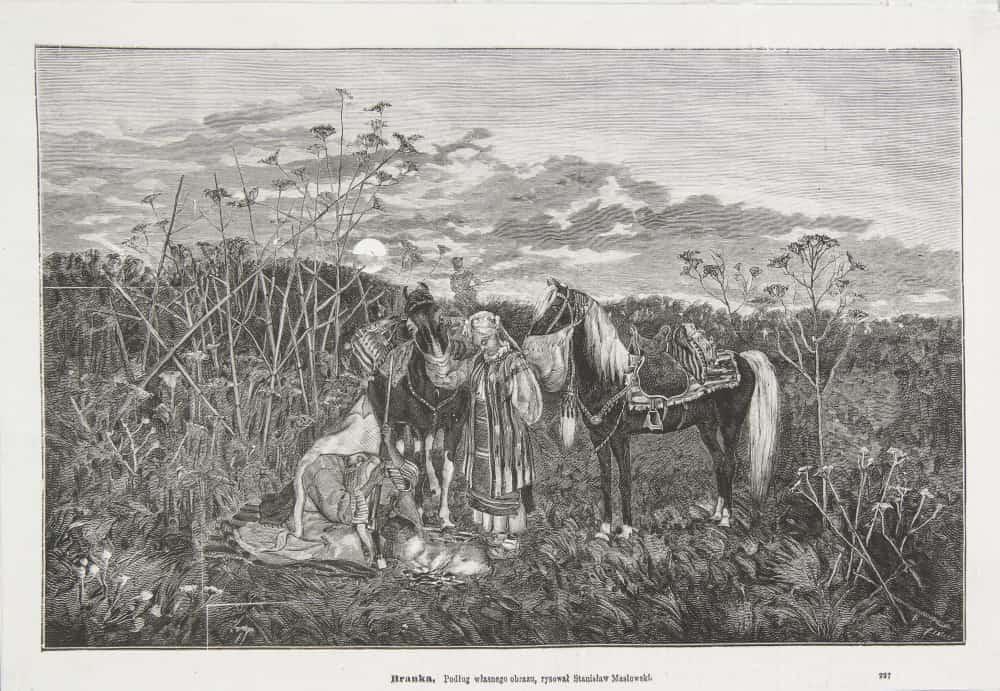 Branka wg. obrazu Stanisława Masłowskiego. Wycinek z Tygodnika ilustrowanego 1878. Źródło: Muzeum Narodowe w Krakowie